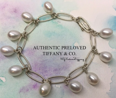Pre-owned Tiffany & Co. Elsa Peretti Fringe Pearl Oval Link Bracelet