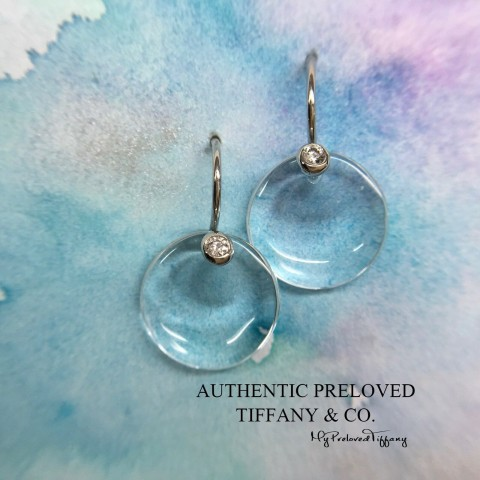 Pre-owned Tiffany & Co. Elsa Peretti Round Disc Full Diamond Crystal Earrings Platinum
