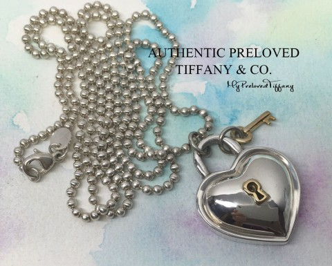 Pre-owned Tiffany & Co. Silver Keyhole Heart Gold Key Long Bead Necklace