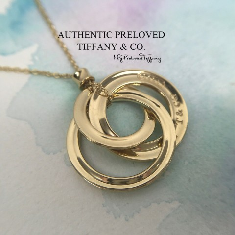 Pre-owned Tiffany & Co. 1837 Interlocking Yellow Gold Necklace