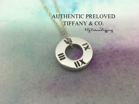 Pre-owned Tiffany & Co. Pierced Atlas Small Circle Pendant Necklace