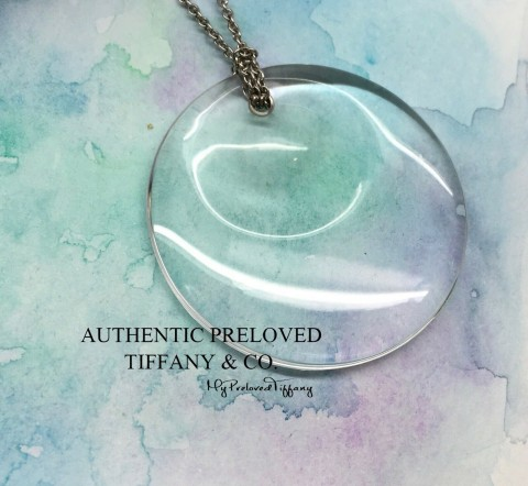 Tiffany & Co. Elsa Peretti Rock Crystal 1.5 Large Round Disc Platinum Necklace