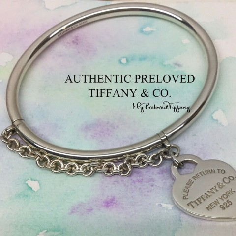 Pre-owned Tiffany & Co. Return To Heart Tag Chain Bangle Silver