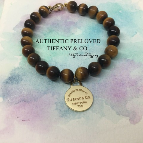 Pre-owned Tiffany & Co. Return To Tiger Eye Bracelet Gold