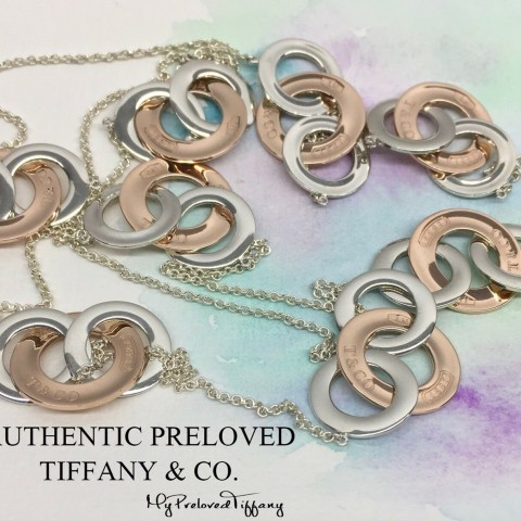 Pre-owned Tiffany & Co. 1837 Interlocking Rubedo Metal Silver Long Necklace