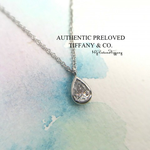 Pre-owned Tiffany & Co. Elsa Peretti By The Yard Pear Diamond Platinum Necklace