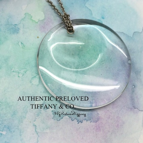 Pre-owned Tiffany & Co. Elsa Peretti Rock Crystal 1.5 Large Round Disc Platinum Necklace