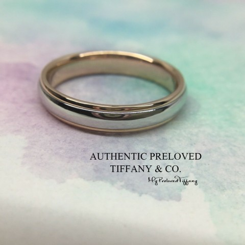 Pre-owned Tiffany & Co. Platinum Rose Gold Lucida Classic Wedding Ring 4mm #8.5