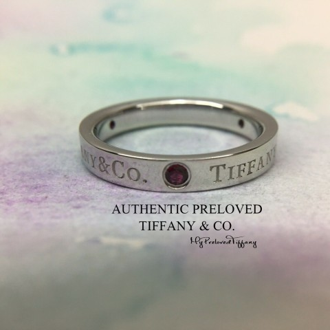 Pre-owned Tiffany & Co. Logo 3 Ruby Platinum Ring PT950 #5