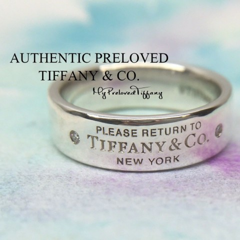 Pre-owned Tiffany & Co. Return To 2 Diamond Ring Silver