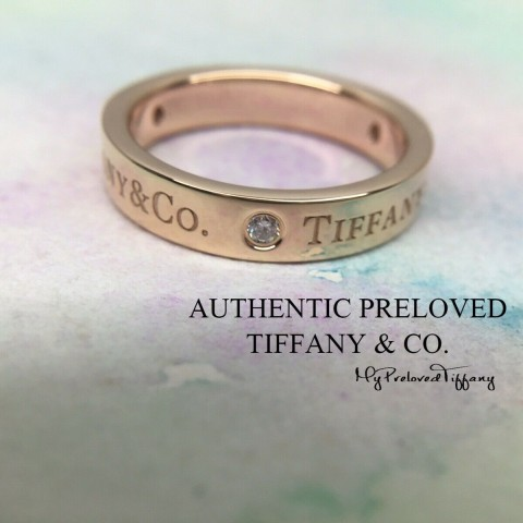 Pre-owned Tiffany & Co. Logo 3 Diamond 4mm Rose Gold Band Ring