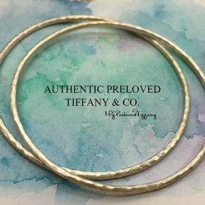 Tiffany & Co. Paloma Picasso Hammered Bangle Silver PAIR
