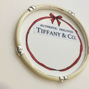 Pre-owned Tiffany & Co. Signature Ivory White Enamel Bangle Silver