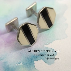 Pre-owned Tiffany & Co. Paloma Picasso Zellige Black White Enamel Cuff Link