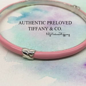 Pre-owned Tiffany & Co. Signature Pink Enamel Bangle Silver
