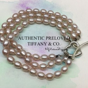 Tiffany & Co. Elsa Peretti Open Heart Purple Pearl Bracelet