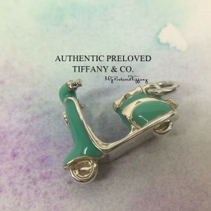 Pre-owned Tiffany & Co. Blue Enamel Scooter Charm Silver