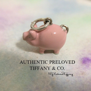 Pre-owned Tiffany & Co. Pink Enamel Piggy Pig Charm Silver