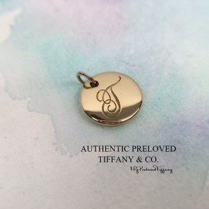 Pre-owned Tiffany & Co. Notes Alphabet Letter T Yellow Gold Disc Charm Pendant