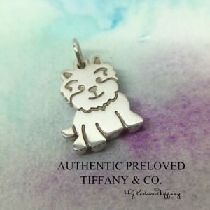 Pre-owned Tiffany & Co. Yorkie Dog Mini Silver Charm