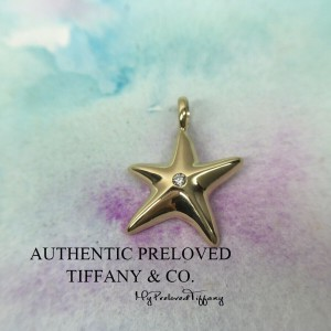 Pre-owned Tiffany & Co. Yellow Gold Starfish Diamond Charm Pendant