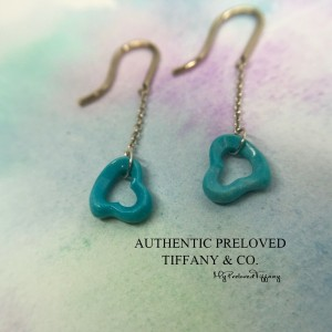 Pre-owned Tiffany & Co. Elsa Peretti Turquoise Dangling Earrings Silver Retired