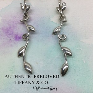 Pre-owned Tiffany & Co. Paloma Picasso Olive Leaf Vine Drop Silver Earrings