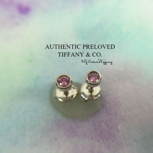 Pre-owned Tiffany & Co. Elsa Peretti By The Yard Pink Sapphire Stud Earrings
