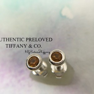 Pre-owned Tiffany & Co. Elsa Peretti By The Yard Citrine Stud Earrings