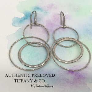 Pre-owned Tiffany & Co. Paloma Picasso Hammered Circles Drop Earrings Silver