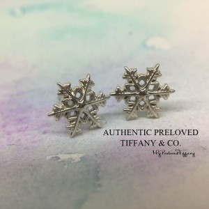 Pre-owned Tiffany & Co. Snow Flake Snowflake Stud Earrings Silver
