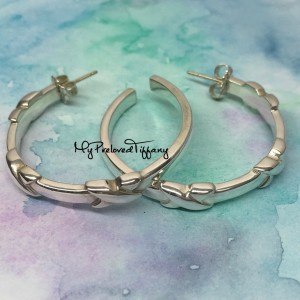 Pre-owned Tiffany & Co. Signature X Large Hoop Earrings Retired