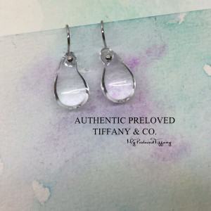 Pre-owned Tiffany & Co. Elsa Peretti Teardrop Crystal Earrings Platinum