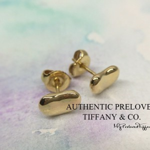 Pre-owned Tiffany & Co. Elsa Peretti 9mm Mini Bean Yellow Gold Earrings