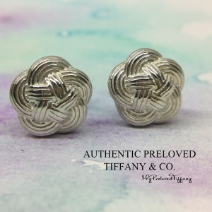 Pre-owned Tiffany & Co. Twist Knot Woven Button Stud Earrings Retired