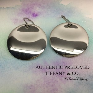Pre-owned Tiffany & Co. Elsa Peretti Round Disc Large Dangling Drop Earrings