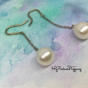Pre-owned Tiffany & Co. Elsa Peretti By The Yard Pearl Earrings