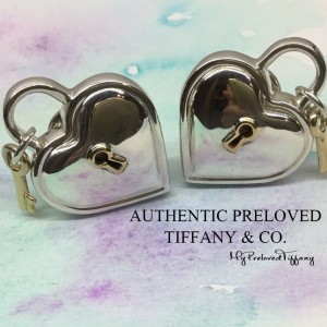 Pre-owned Tiffany & Co. Keyhole Key Silver Gold Big Earrings Omega
