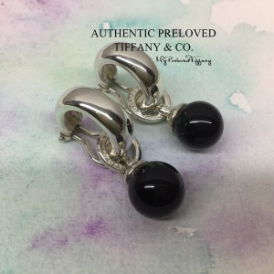 Tiffany & Co. Fascination Bead Ball Onyx Silver Earclips