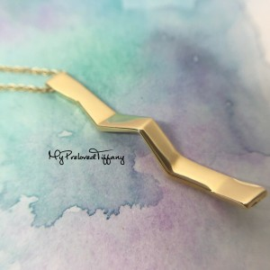 Pre-owned Tiffany & Co. Gehry Fold Zig Zag Yellow Gold Necklace 750