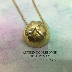 Pre-owned Tiffany & Co. Paloma Picasso Hammered Yellow Gold Necklace Vintage