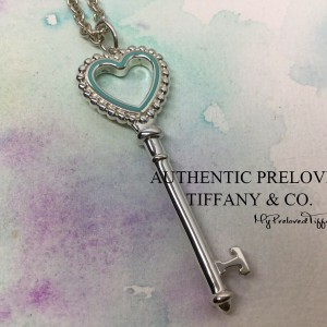 Pre-owned Tiffany & Co. Blue Enamel Large Bead Heart Key Charm Necklace