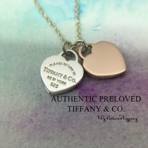 Pre-owned Tiffany & Co. 1837 Double Mini Heart Rubedo Metal Silver Necklace