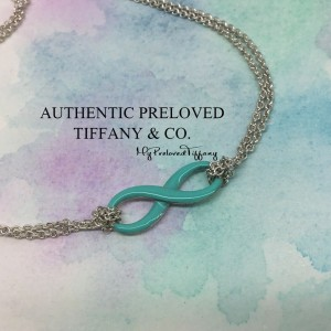 Pre-owned Tiffany & Co. Blue Enamel Infinity Silver Necklace
