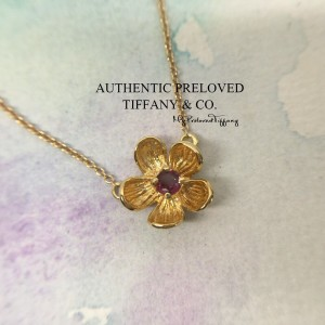 Pre-owned Tiffany & Co. Tourmaline Mini Flower Gold Necklace