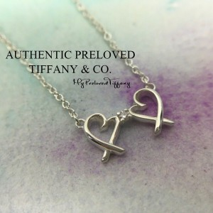 Pre-owned Tiffany & Co. Paloma Picasso Diamond Double Mini Loving Heart Necklace