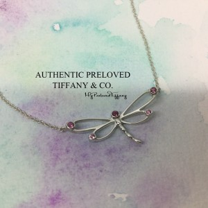 Pre-owned Tiffany & Co. Dragonfly Pink Sapphire Silver Necklace 18