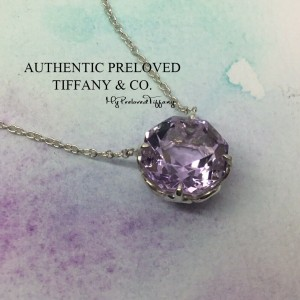 Pre-owned Tiffany & Co. Sparkler Amethyst Purple Quartz Silver Necklace 16