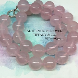 Pre-owned Tiffany & Co. Paloma Picasso Rose Quartz 13mm Silver Necklace