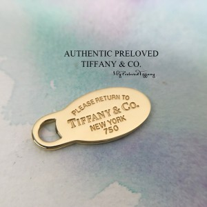 Pre-owned Tiffany & Co. Return To Oval Tag Pendant Yellow Gold 18K